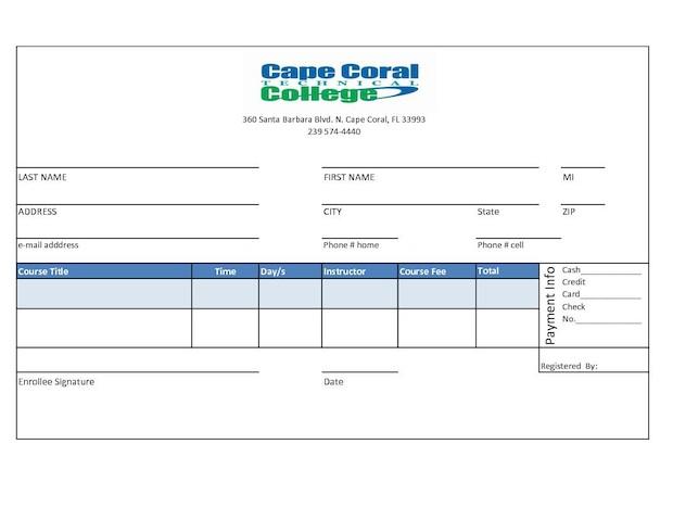 Evening Class Enrollment Form  Cape Coral Technical College
