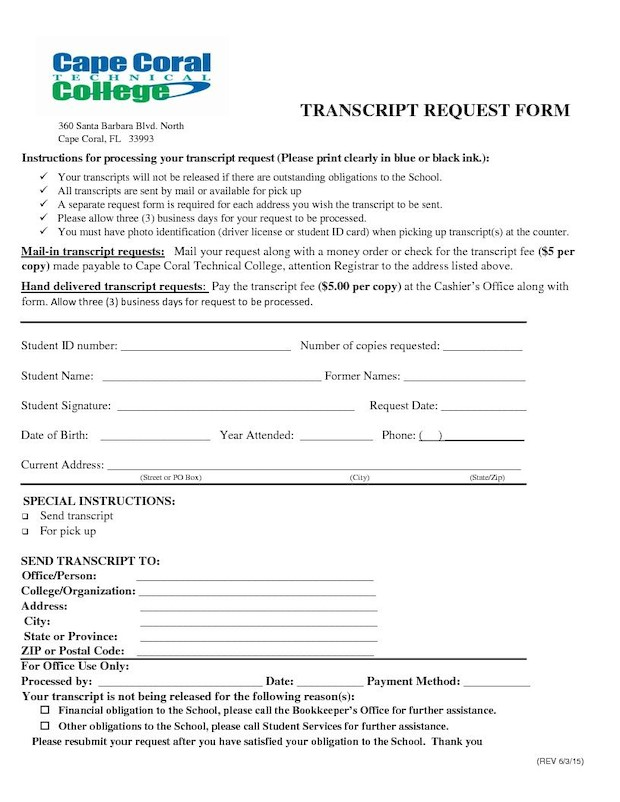 Transcript Request Form  Cape Coral Technical College
